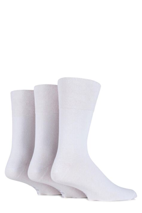 Mens 3 Pair Gentle Grip Plain Cotton Suit Socks In White Product Image