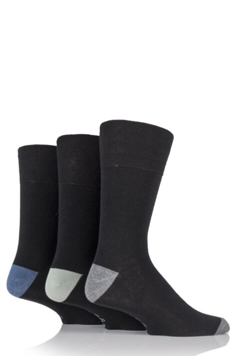 Mens 3 Pair Gentle Grip James Cotton Socks with Contrast Heel and Toe Product Image