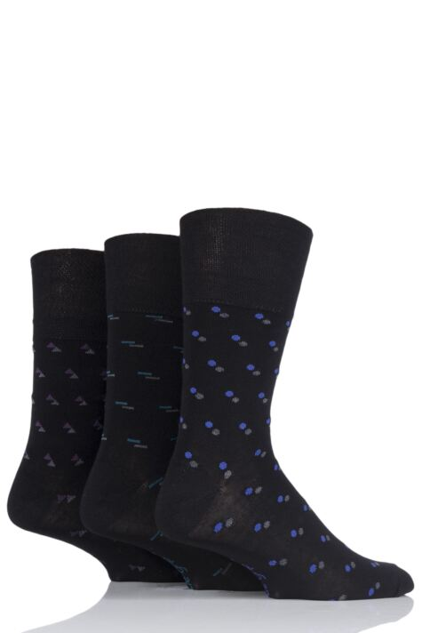 Mens 3 Pair Gentle Grip Patterned Bamboo Socks Product Image