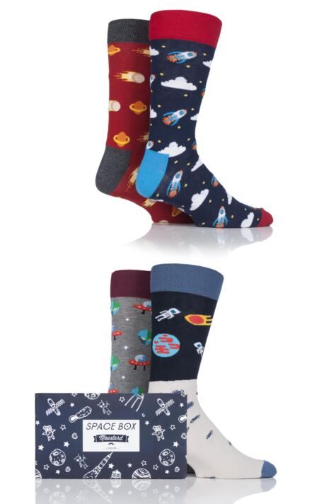 Mens 4 Pair Moustard Space Design Socks In Gift Box Product Image