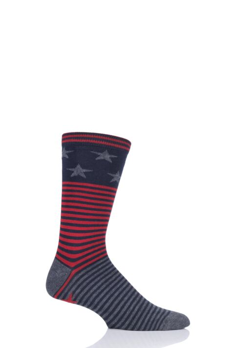Mens 1 Pair Thought Starry Stars and Stripes Bamboo and Organic Cotton Socks Product Image