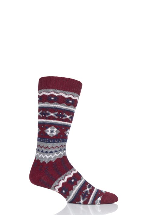 Mens 1 Pair Thought Marley Fair Isle Wool Socks Product Image