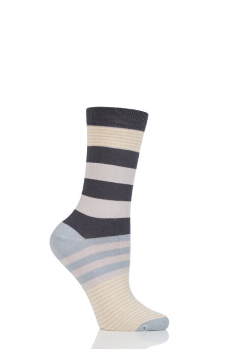 Ladies 1 Pair Thought Britta Block Stripe Bamboo and Organic Cotton Socks Product Image