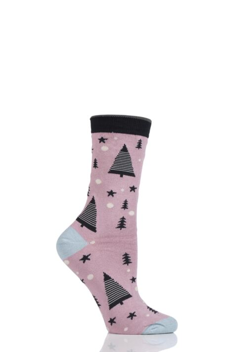 Ladies 1 Pair Thought Merry Christmas Tree Bamboo and Organic Cotton Socks Product Image