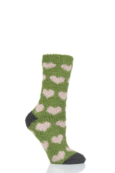 Ladies 1 Pair Thought Fluffy Heart Recycled Polyester Socks Product Image