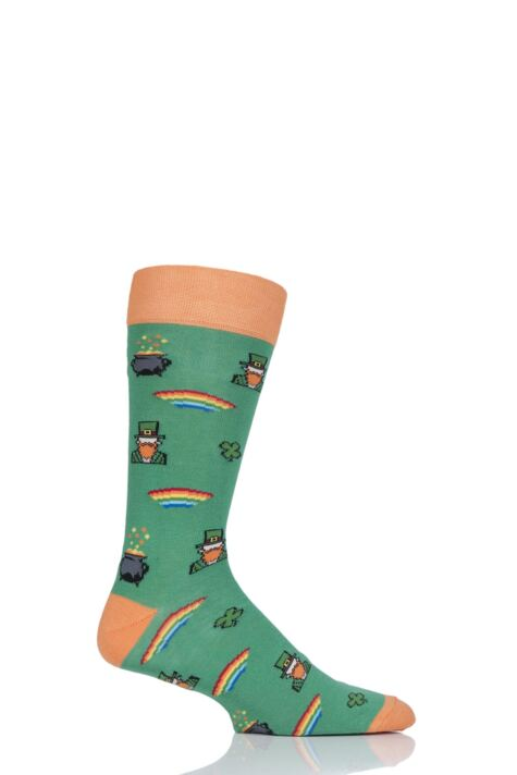 Mens 1 Pair Moustard St Patricks Day Cotton Socks Product Image
