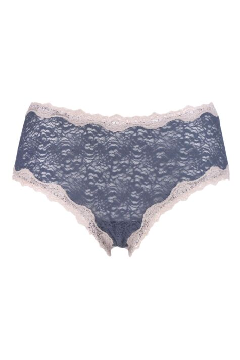 Ladies 1 Pair Kinky Knickers 'Silver & Oyster' Scallop Edge Lace 'Classic' Knicker Product Image