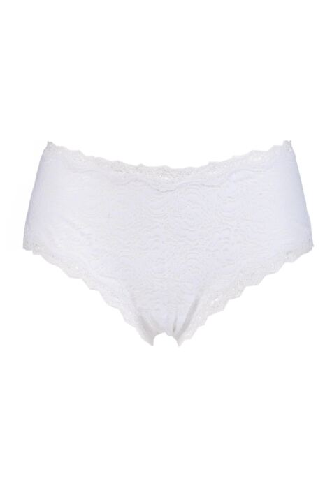 Ladies 1 Pair Kinky Knickers 'White & White' Scallop Edge Lace 'Classic' Knicker Product Image