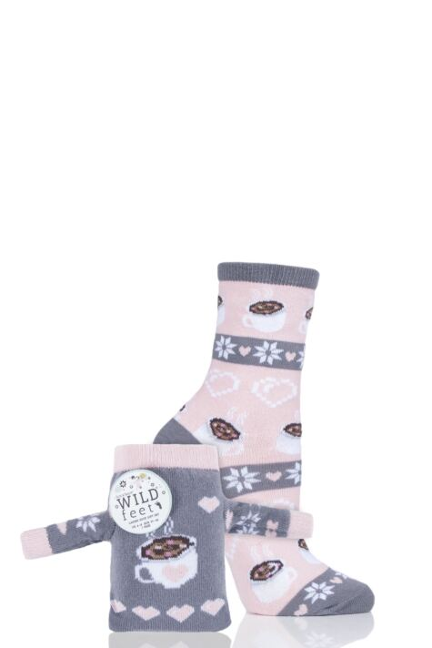 Ladies 1 Pair SockShop Wild Feet Hot Chocolate Christmas Jumper Gift Bag Socks Product Image
