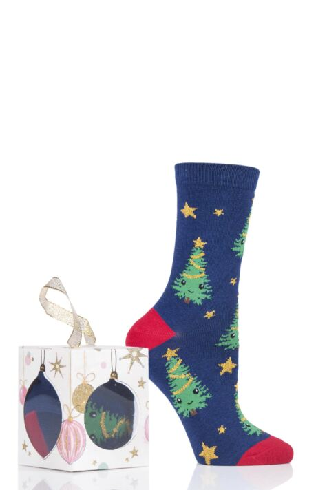 Ladies 1 Pair SOCKSHOP Wild Feet Gift Boxed Bauble Box Novelty Cotton Socks Product Image
