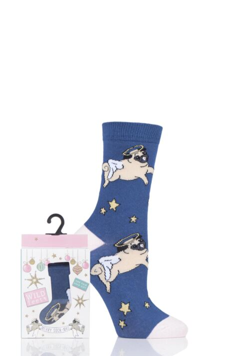 Ladies 1 Pair SOCKSHOP Wild Feet Gift Boxed Postcard Box Novelty Cotton Socks Product Image