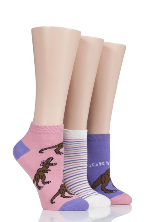 Ladies 3 Pair SOCKSHOP Wild Feet Hangry T-Rex Cotton Trainer Socks Product Image