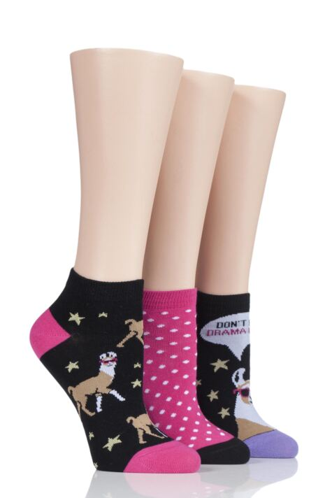 Ladies 3 Pair SOCKSHOP Wild Feet Drama Llama Cotton Trainer Socks Product Image