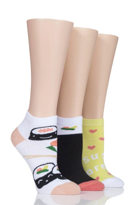 Ladies 3 Pair SOCKSHOP Wild Feet Sushi Trainer Socks Product Image