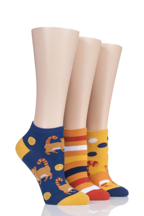 Ladies 3 Pair SockShop Wild Feet Ginger Cat Cotton Trainer Socks Product Image