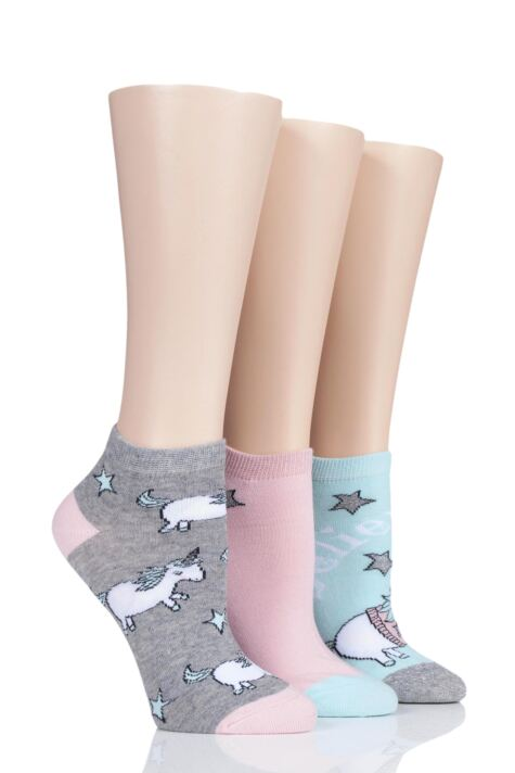 Ladies 3 Pair SockShop Wild Feet Unicorn Jumper Cotton Trainer Socks Product Image
