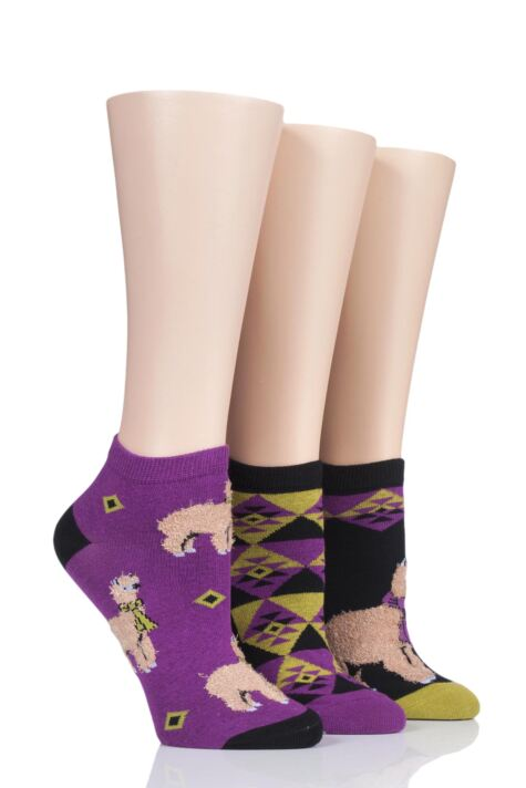Ladies 3 Pair SOCKSHOP Wild Feet Llama Cotton Trainer Socks Product Image