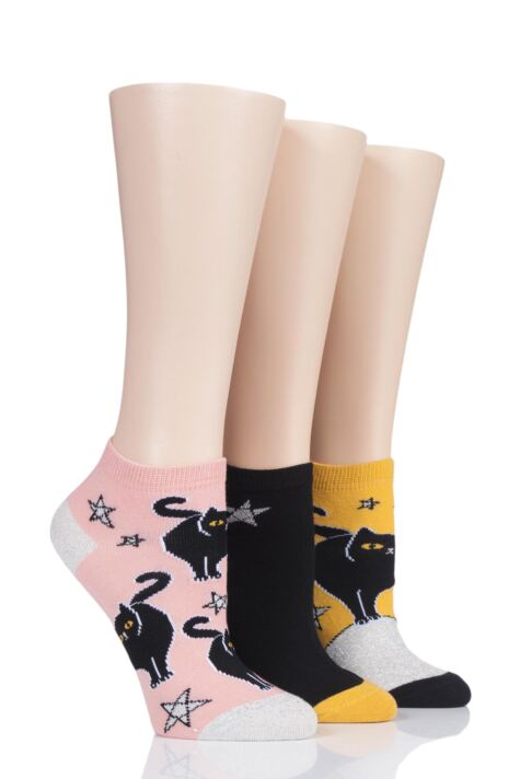 Ladies 3 Pair SockShop Wild Feet Black Cat Cotton Trainer Socks Product Image