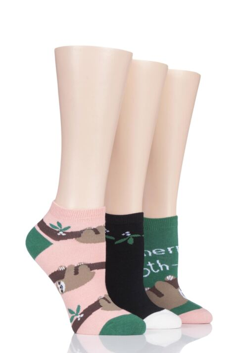 Ladies 3 Pair SockShop Wild Feet Sloth Cotton Trainer Liner Socks Product Image