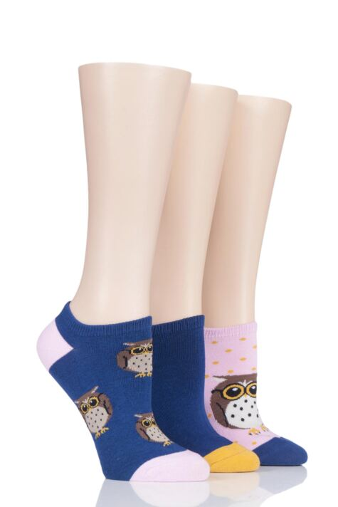 Ladies 3 Pair SOCKSHOP Wild Feet Owl Cotton Trainer Liner Socks Product Image