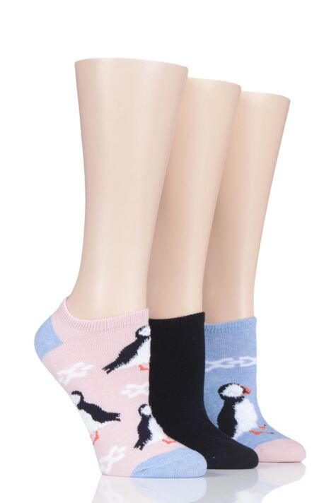 Ladies 3 Pair SOCKSHOP Wild Feet Puffin Cotton Trainer Liner Socks Product Image