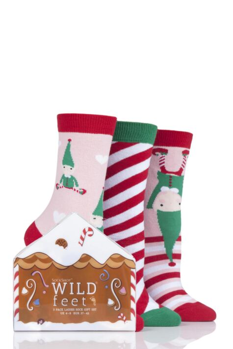 Ladies 3 Pair SOCKSHOP Wild Feet Gift Boxed Elves Cotton Socks Product Image