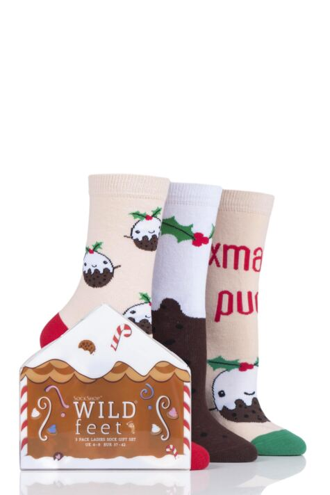 Ladies 3 Pair SockShop Wild Feet Gift Boxed Xmas Pudding Cotton Socks Product Image