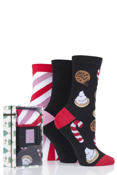 Ladies 3 Pair SOCKSHOP Wild Feet Christmas Box Gift Boxed Novelty Cotton Socks Product Image