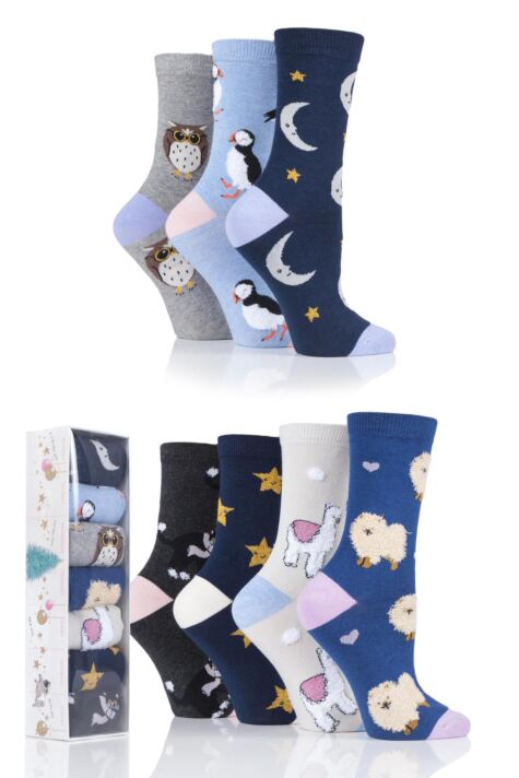 Ladies 7 Pair SOCKSHOP Wild Feet Christmas 7 Days Gift Boxed Novelty Cotton Socks Product Image