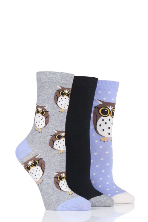 Ladies 3 Pair SockShop Wild Feet Owl Novelty Cotton Socks Product Image
