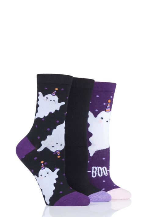 Ladies 3 Pair SOCKSHOP Wild Feet Fa-boo-lous Ghost Novelty Cotton Socks Product Image