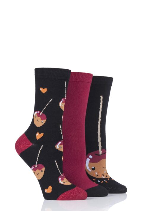 Ladies 3 Pair SOCKSHOP Wild Feet Toffee Apple Novelty Cotton Socks Product Image