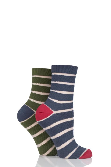 Ladies 2 Pair SOCKSHOP Fashion Collection Quilted Mesh Stripe Socks Product Image