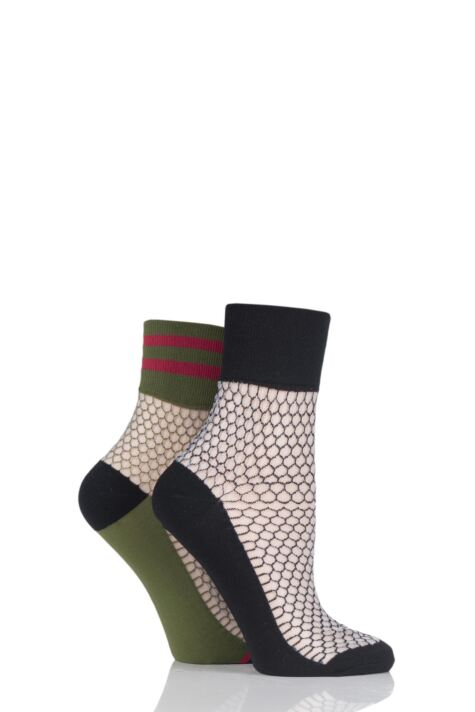 Ladies 2 Pair SockShop Fashion Collection Fishnet Mesh Socks Product Image