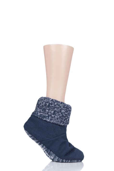 Ladies 1 Pair SockShop Wild Feet Plain Knitted Fleece Lined Bootie Slippers Product Image