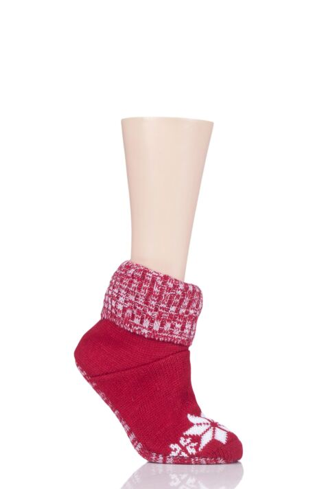 Ladies 1 Pair SockShop Wild Feet Christmas Themed Knitted Bootie Slippers Product Image