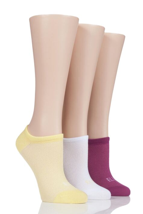 Ladies 3 Pair Elle Sport Mesh Bamboo No Show Socks Product Image