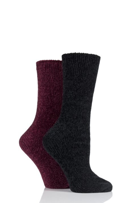 Ladies 2 Pair Elle Chenille Boot Socks Product Image