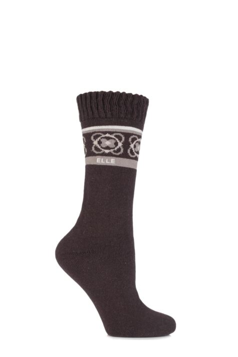Ladies 1 Pair Elle Wool Blend Striped and Patterned Winter Boot Socks Product Image