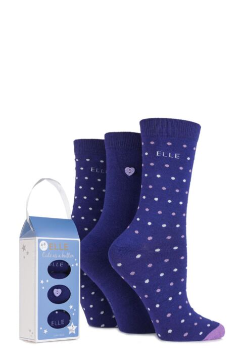 Ladies 3 Pair Elle Gift Boxed Cute as a Button Patterned Cotton Socks Product Image