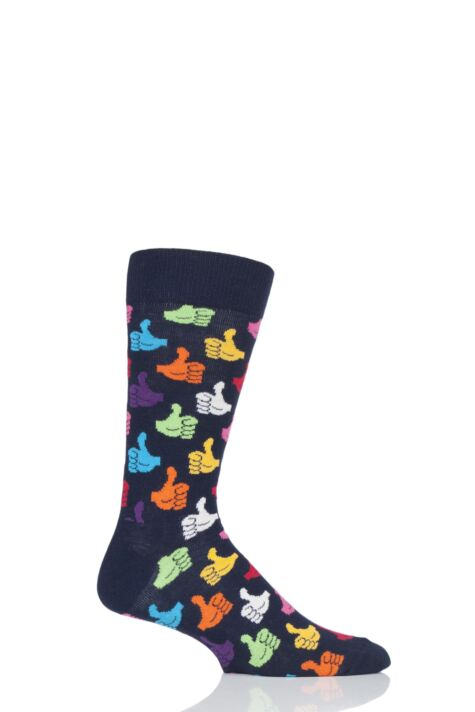 Mens and Ladies 1 Pair Happy Socks Thumbs Up Combed Cotton Socks Product Image