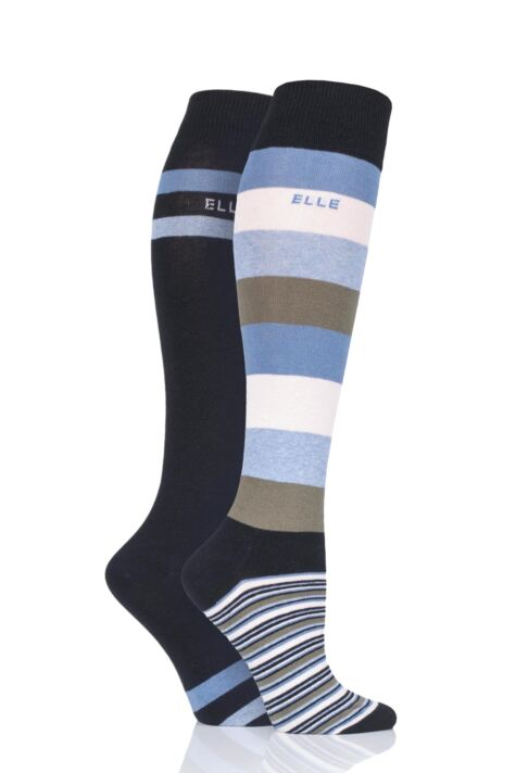 Ladies 2 Pair Elle Striped Cotton Knee High Socks Product Image
