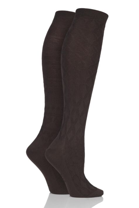 Ladies 2 Pair Elle Floral and Fair Isle Patterned Knee High Socks Product Image