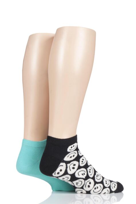 Mens and Ladies 2 Pair Happy Socks Patterned Trainer Socks Product Image