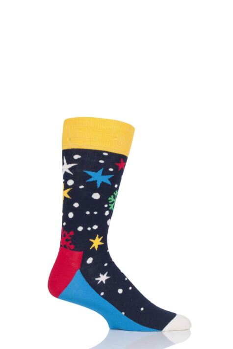 Mens and Ladies 1 Pair Happy Socks Christmas Twinkle Twinkle Snowflakes Combed Cotton Socks Product Image