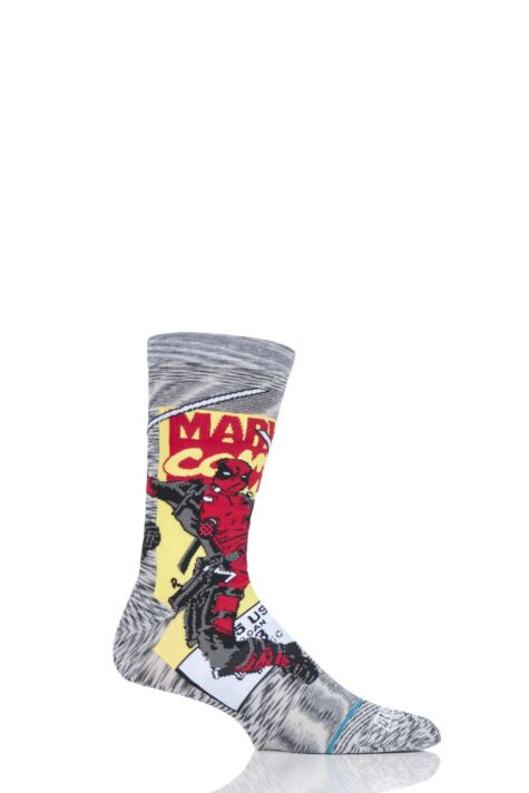 Mens and Ladies 1 Pair Stance Marvel Deadpool Comic Stripe Socks Product Image