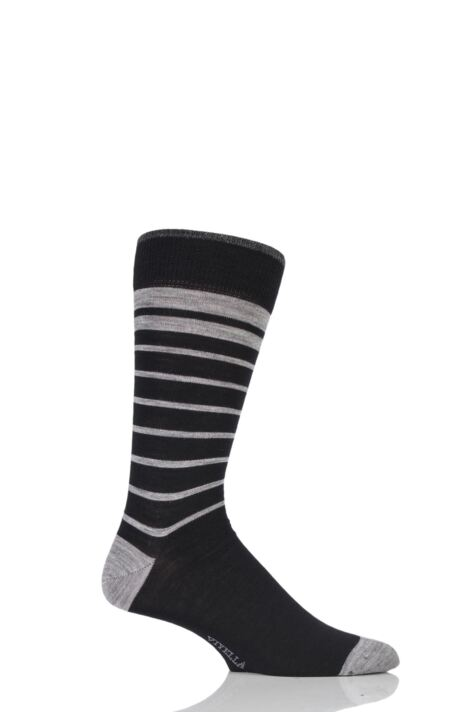 Mens 1 Pair Viyella Half Striped Wool Cotton Socks Product Image