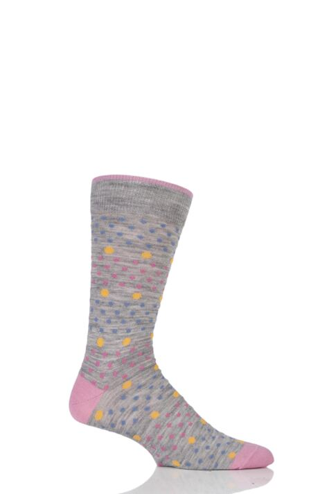 Mens 1 Pair Viyella Multi Spot and Dot Wool Cotton Socks Product Image