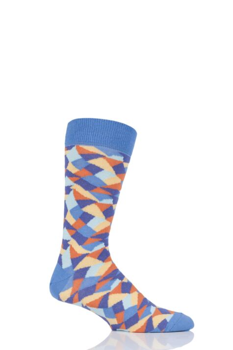 Mens 1 Pair Viyella Crazy Paving Patterned Cotton Socks Product Image