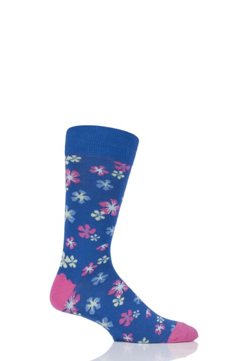 Mens 1 Pair Viyella Flower Patterned Cotton Socks Product Image